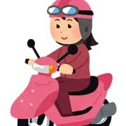 女性が原付に乗る様子のイラスト