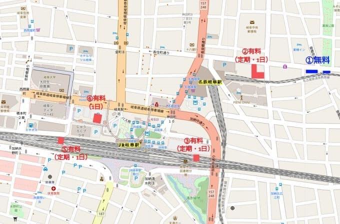 岐阜駅周辺の駐輪場の位置図