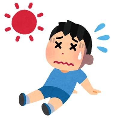 暑さにばてる男の子のイラスト