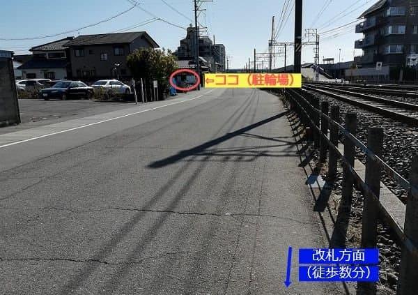 新木曽川駅周辺の駐輪場の風景の写真