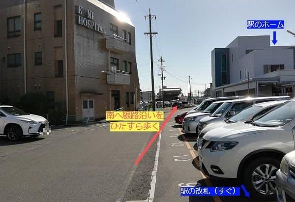 新木曽川駅から駐輪場方面をみた写真