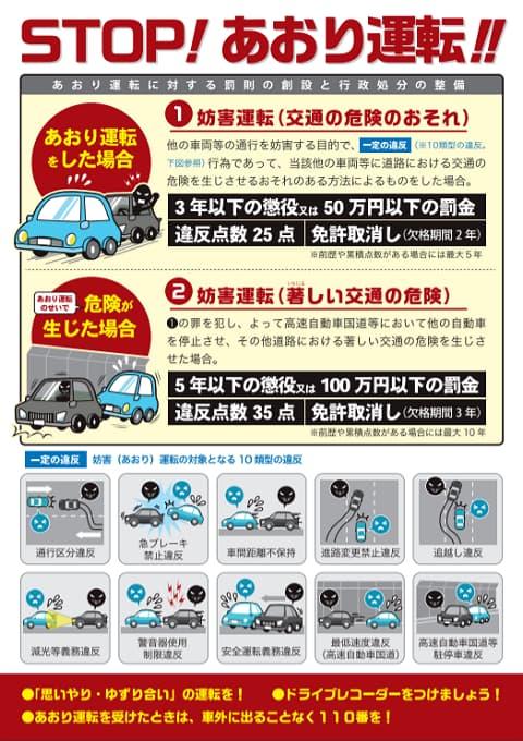 警視庁のあおり運転防止チラシの画像
