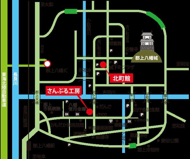 郡上八幡のさんぷる工房の地図画像
