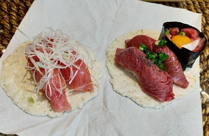 岐阜高山ツーリングで食べた飛騨牛寿司の写真