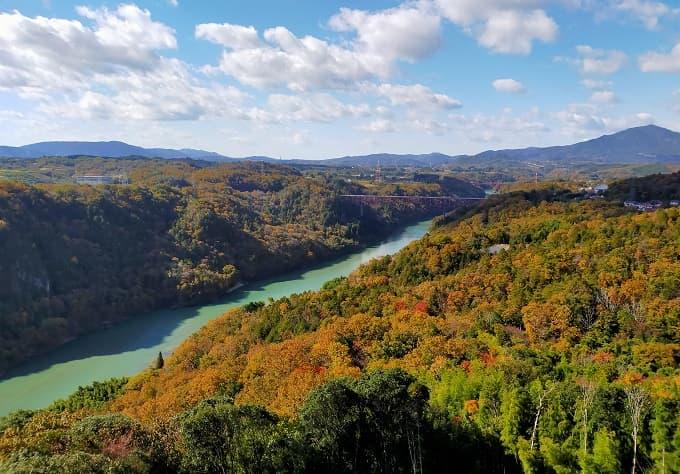 苗木城からの紅葉風景写真