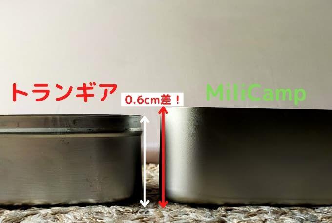 トランギアとMiliCampメスティンの高さ比較写真