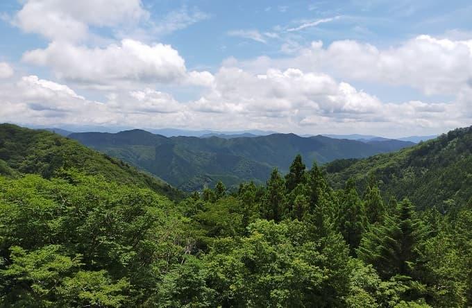 茶臼山周辺の県道506号線からの景色